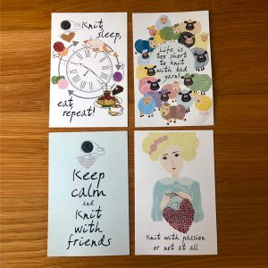 Set of 4 postcards - Knit with Friends