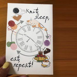 """Postcard """"knit, eat, sleep, repeat!"""""""